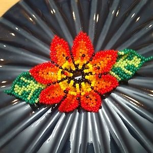 Huichol Styled Hand Beaded 4in. Flower Hair Clip